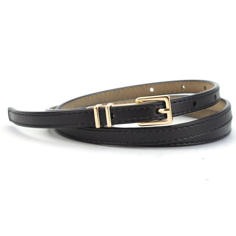 Ремень женский кожаный узкий черный PS-1017 black (115 см)