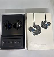Наушники гибридные двухдрайверные Original голубой с черным