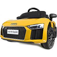 Электромобиль детский на аккумуляторе AUDI HL1818 для детей двухместный колеса из мягкого EVA материала желтый
