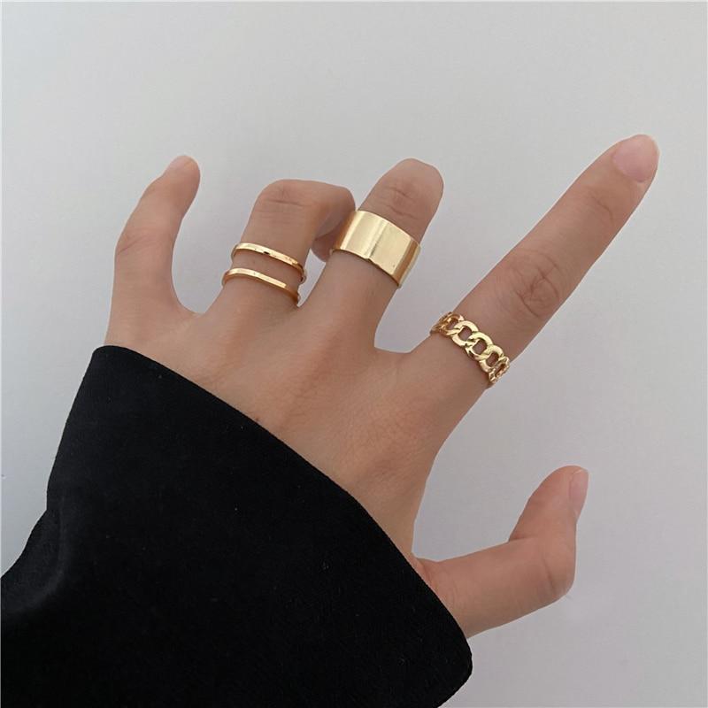Женские золотистые кольца набор 3 штуки код 2099
