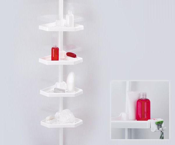 Полка для ванной четверная N 01 белая (металлическая труба)