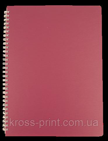 Зошит для нотаток BARK, А4, 60 арк.,клітинка, пластикова обкладинка, малиновий