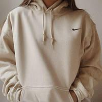 Женское худи Nike бежевое oversize (оверсайз) кофта-толстовка найк с логотипом на сердце