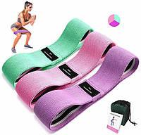 Тканевые фитнес резинки 3 шт, эспандеры для спорта и йоги