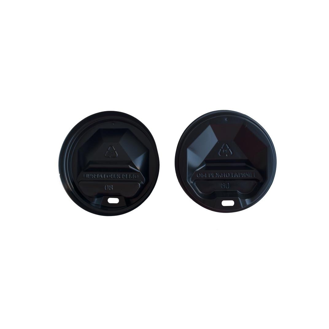 Крышка пластик U д/бум.стакана 80 (50 шт) чёрная