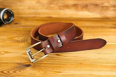Шкіряний пояс під джинси, колір коричневий, відтінок Вишня, пряжка №3