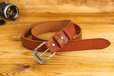 Шкіряний пояс під джинси, колір коричневый, оттенок Коньяк, пряжка №3