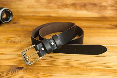 Шкіряний пояс під джинси, колір коричневий, відтінок Кава, пряжка №3
