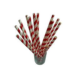 Трубочки бумажные красно-белые 50 шт 19,5 см