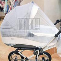 Універсальна москітна сітка на дитячу коляску люльку прогулянку на резинці по периметру 3966 140, Білий, 65