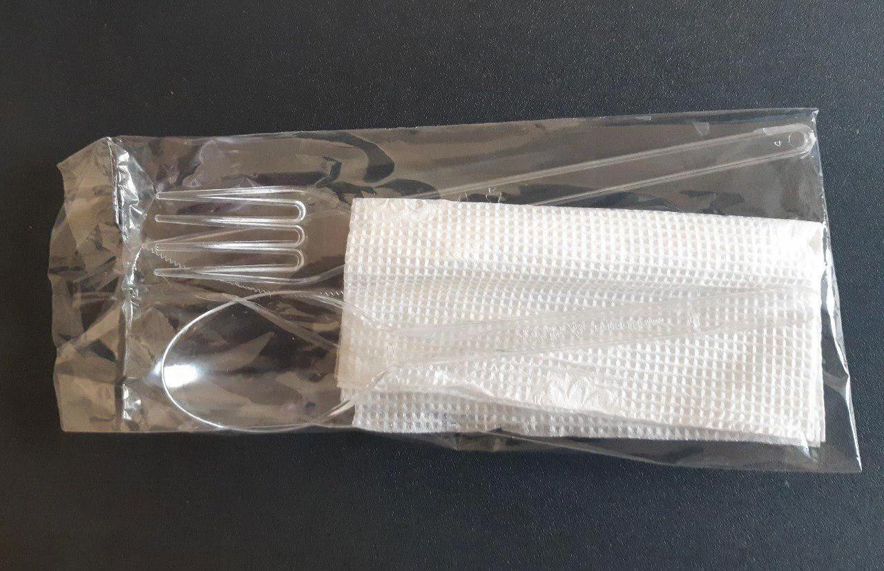 Набір (виделка/ніж/ложка/зубочистка/салфетка) одноразовий прозорий
