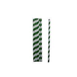 Трубочки бумажные зелёные 19,5 см 50 шт