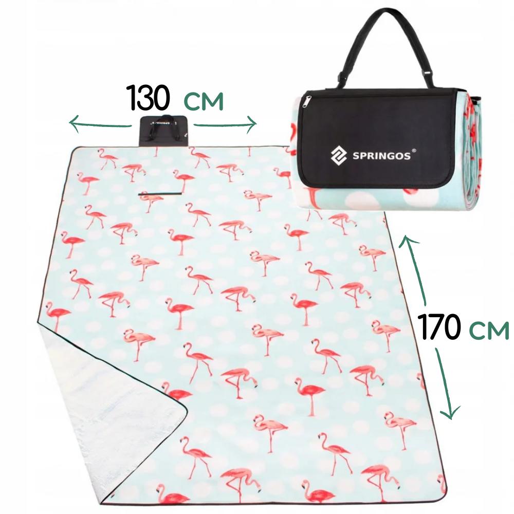 Килимок плед для пікніка відпочинку та кемпінгу сумка складний непромокаючий Springos Блакитний 170 x 130 см (PM024)
