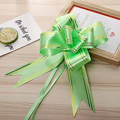 Подарунковий бант-затягування Lesko Green 32 мм для упаковки подарунка