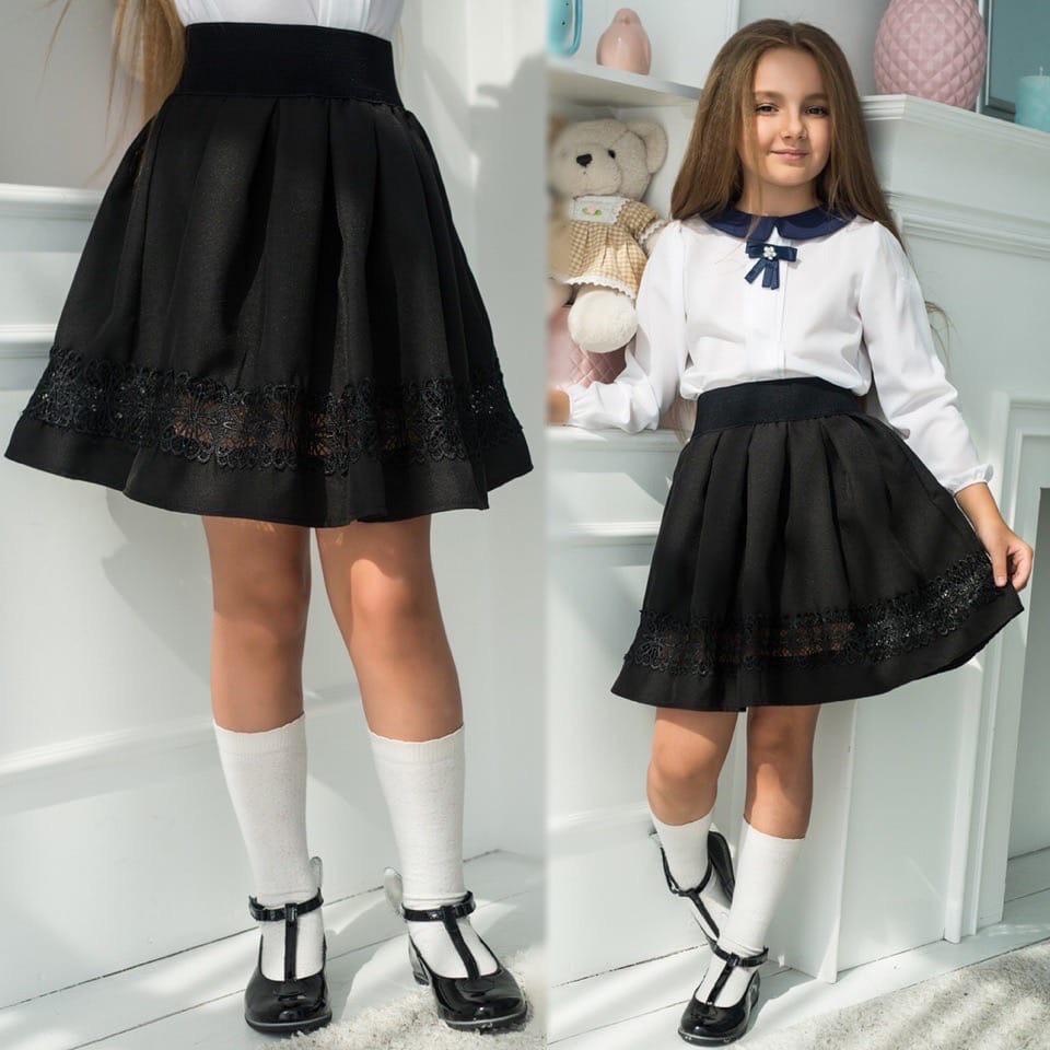 """Детская стильная школьная юбка 474 """"Креп Макраме"""""""