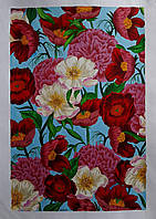 Картина буйство цветов на голубом фоне акрил
