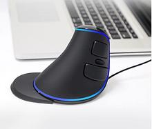 Проводная вертикальная мышь с подсветкой Delux M618 Plus Blue