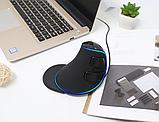 Провідна вертикальна миша з підсвічуванням Delux M618 Plus Blue, фото 5