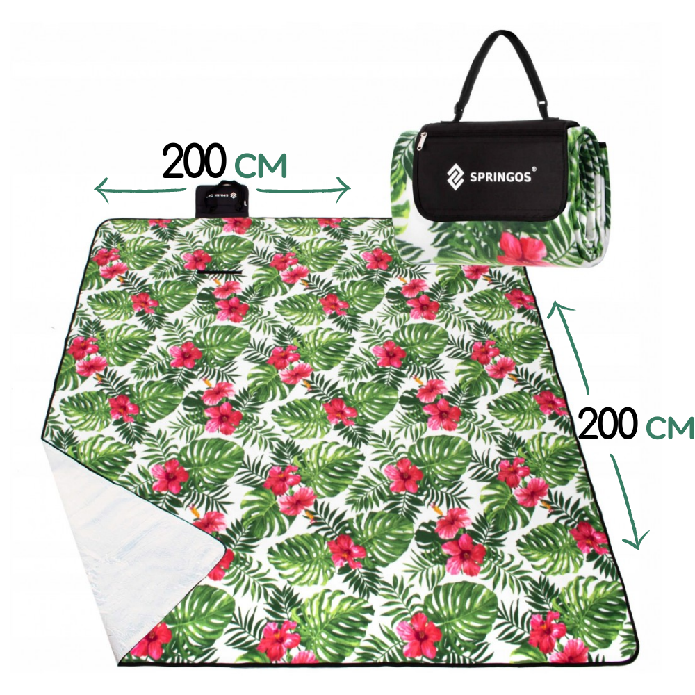 Килимок плед для пікніка відпочинку та кемпінгу сумка складний непромокаючий Springos Зелений 200 x 200 см (PM019)