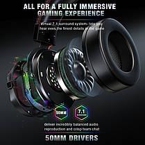 Игровые наушники Runmus K3 Black черные с микрофоном и LED RGB подсветкой геймерские, фото 3