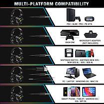 Игровые наушники Runmus K3 Black черные с микрофоном и LED RGB подсветкой геймерские, фото 2