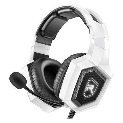 Игровые наушники с микрофоном и LED подсветкой RUN MUS Gaming K8 white геймерские, фото 2