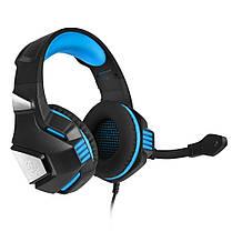 Игровые наушники с микрофоном и LED подсветкой Hunterspider Gaming with LED V3 черные с синим геймерские, фото 2