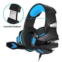 Игровые наушники с микрофоном и LED подсветкой Hunterspider Gaming with LED V3 черные с синим геймерские, фото 3