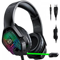 Наушники игровые с микрофоном и LED RGB подсветкой ONIKUMA Gaming with RGB LED X3 Black геймерские, фото 2
