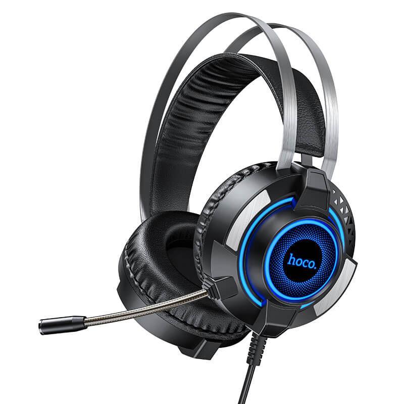 Игровые наушники с микрофоном и LED подсветкой Hoco Gaming ESD06 проводные Black