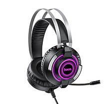 Игровые наушники с микрофоном и LED подсветкой Hoco Gaming ESD06 проводные Black, фото 3