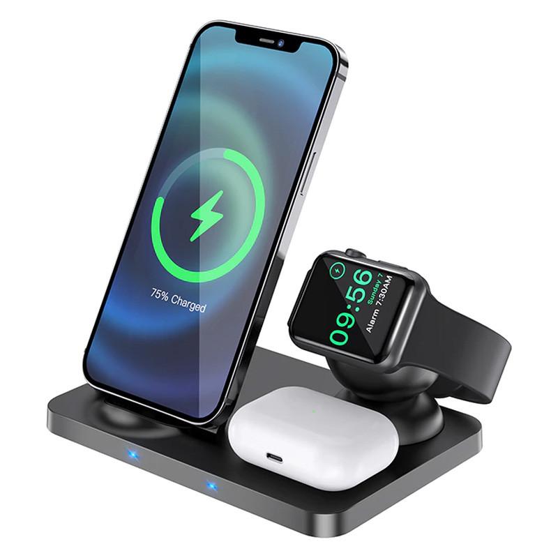 Беспроводное зарядное устройство (индукционное) Hoco CW33 3 в 1 для смартфонов, смарт-часов, AirPods