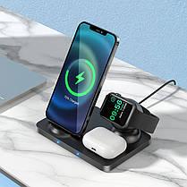 Беспроводное зарядное устройство (индукционное) Hoco CW33 3 в 1 для смартфонов, смарт-часов, AirPods, фото 3