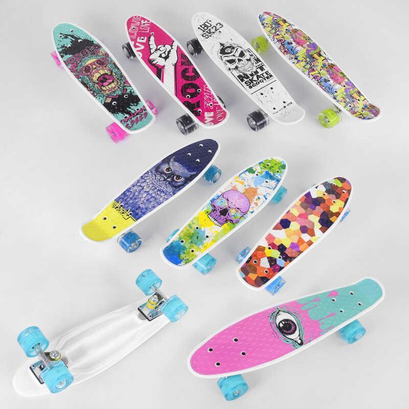 Скейт Пенні борд S 29661 (8) Best Board, 6 видів, ВИДАЄТЬСЯ ТІЛЬКИ МІКС ВИДІВ колеса PU, СВІТЯТЬСЯ, d=4.5 см,