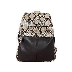 Рюкзак жіночий шкіряний Betty Pretty Бежево-коричнева рептилія
