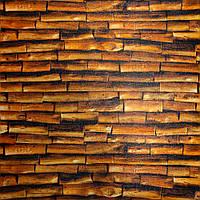 Набір 3D-панелей 10 шт. Коричневий бамбук декор під дерево для стін самоклеючі 3d панелі дошки 700x700x5 мм, фото 1