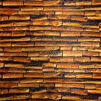 3Д-панель Бамбук Коричневый декор для стены под дерево (самоклеющиеся 3d панели для стен доски) 700x700x5 мм, фото 1