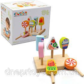 Детский деревянный набор Мороженое (Ice-cream) Cubika (Кубика), 7 деталей (14330)