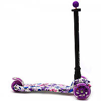 Самокат триколісний MAXI Best Scooter пластмасовий, 4 колеса PU, СВІТЛО d = 12см (779-1319), фото 3