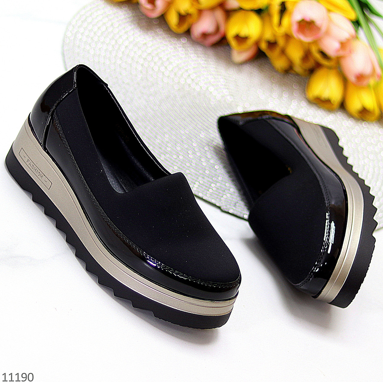 Эластичные черные текстильные полу спортивные женские туфли мокасины 37-23,5 38-24 см