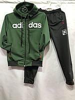 Детский спортивный костюм для мальчика на манжетах Adidas 6-10 лет, зеленого цвета