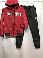 Детский спортивный костюм для мальчика на манжетах Adidas 6-10 лет, красного цвета