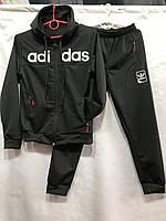 Детский спортивный костюм для мальчика на манжетах Adidas 6-10 лет, черного цвета