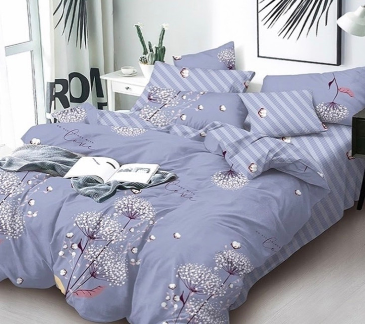 Комплект постельного белья Одуванчик Полоска  Бязь  GOLD 100% хлопок Синего цвета
