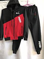 Подростковый спортивный костюм для мальчика на манжетах Puma 8-12 лет, черный с красным