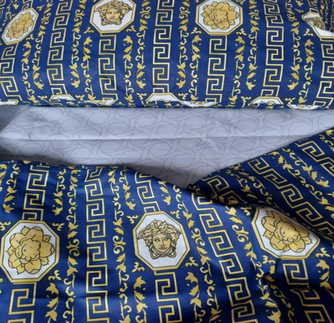 Комплект постільної білизни Версаче Бязь GOLD 100% бавовна Синього кольору