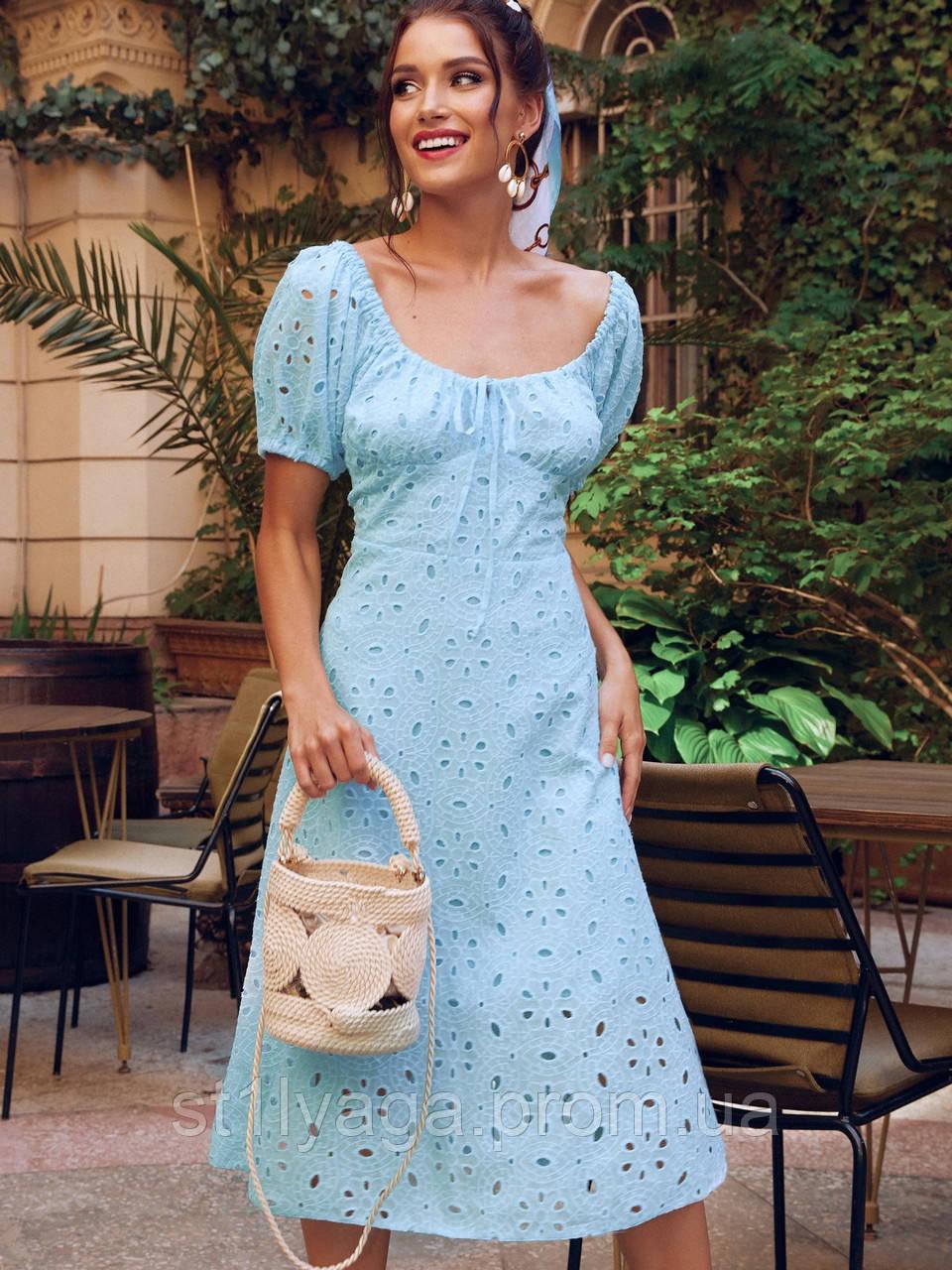 Платье-клеш из прошвы с рукавами фонариками ЛЕТО