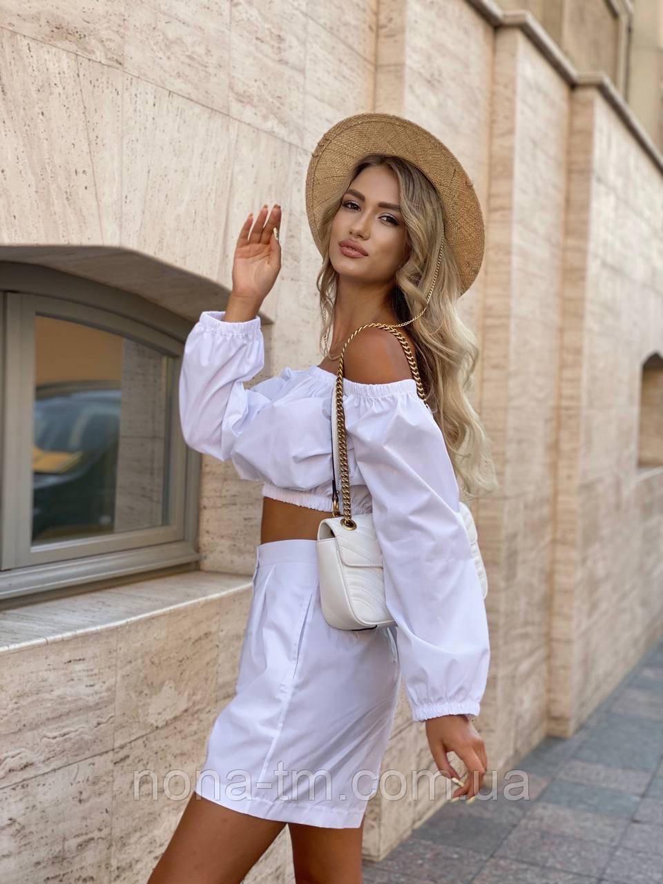 Літній костюм жіночий з блузою і шортами коттон