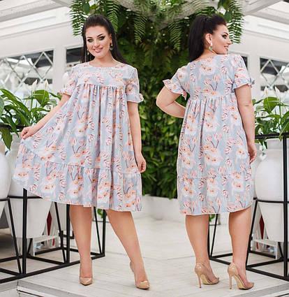 """Женское летнее платье в больших размерах 0579 """"Софт Цветы Воланы"""""""