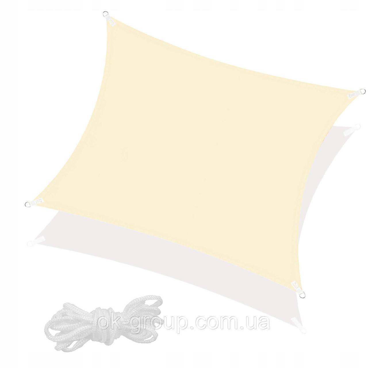 Тент-парус теневой для дома, сада и туризма Springos 5 x 5 м SN1020 Light Yellow